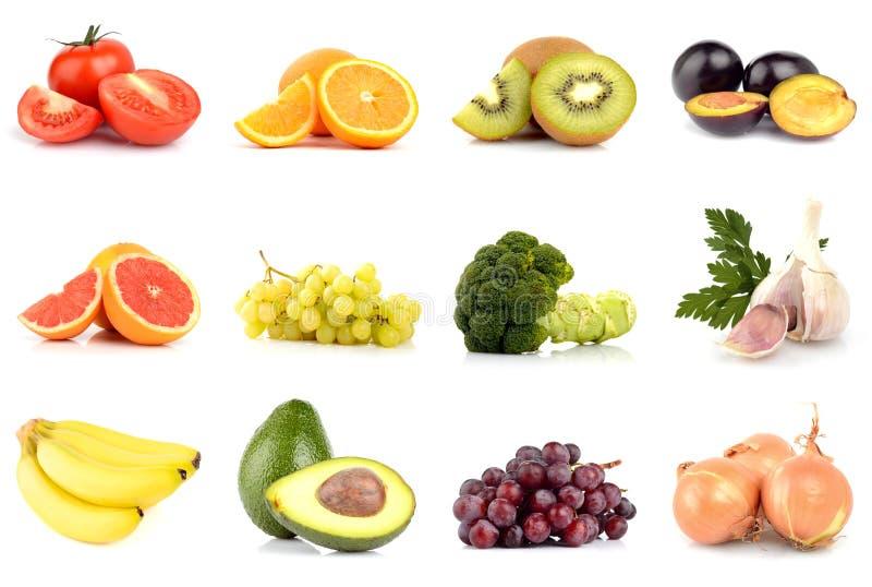 Комплект фруктов и овощей изолированных на белизне стоковое фото