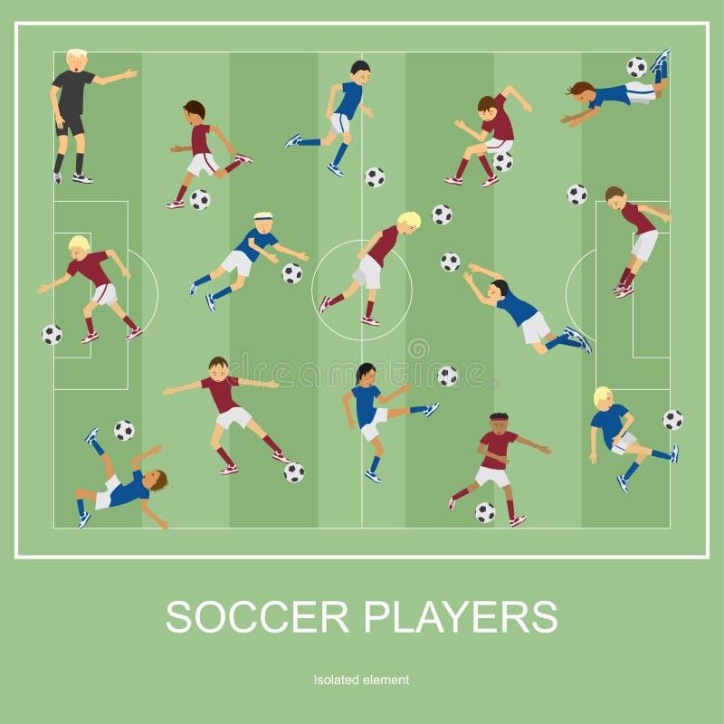 Комплект футболистов иллюстрация вектора