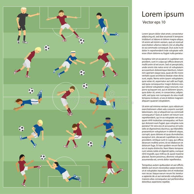 Комплект футболистов иллюстрация штока