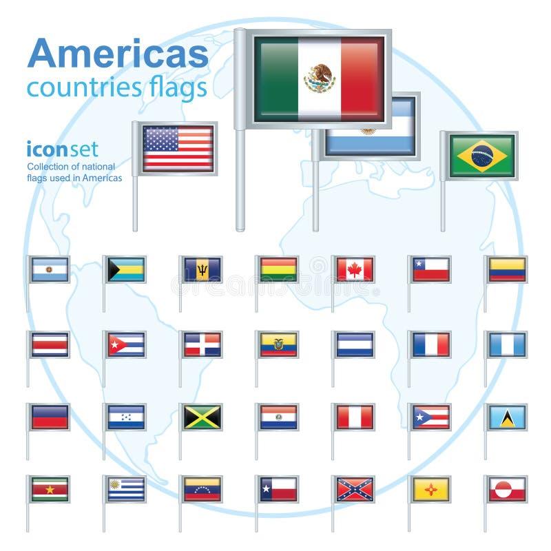 комплект флагов Америк, иллюстрация вектора бесплатная иллюстрация
