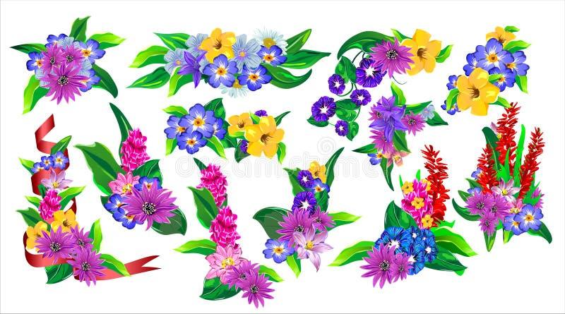 Комплект флористических букетов (Вектор) иллюстрация штока