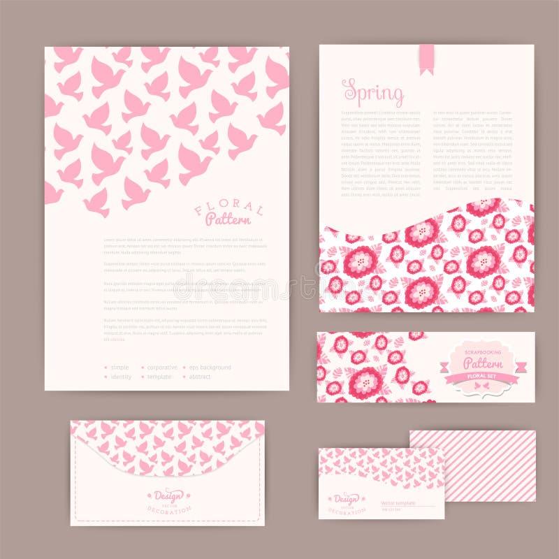Комплект флористических винтажных карточек, приглашений или объявления свадьбы иллюстрация штока