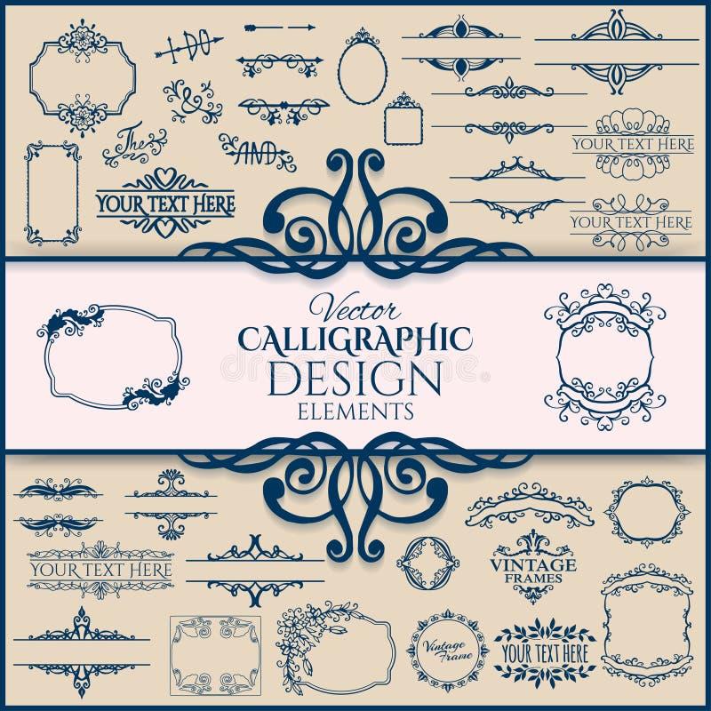 Комплект флористических винтажных каллиграфических рамок и иллюстрация вектора