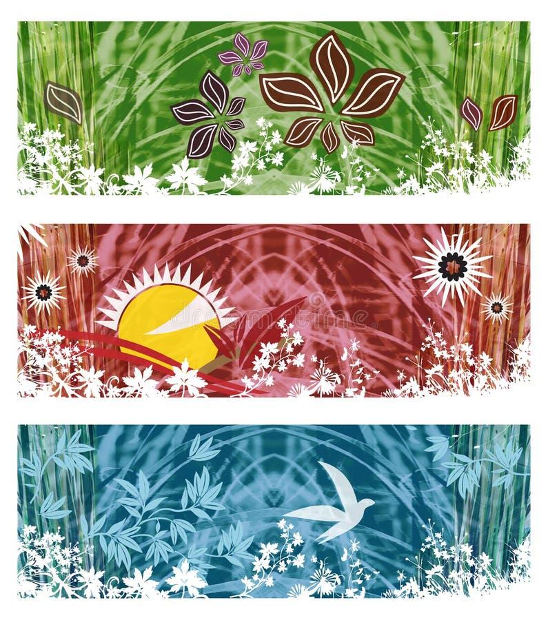 Комплект флористических знамен с листвой, заводов, трав, Солнця, птиц - зеленых, красный, голубого иллюстрация вектора