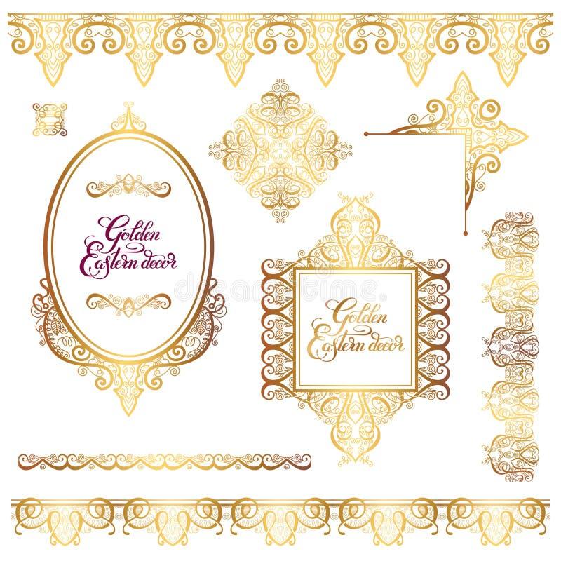 Комплект флористических золотых восточных элементов рамки оформления, patte Пейсли иллюстрация штока