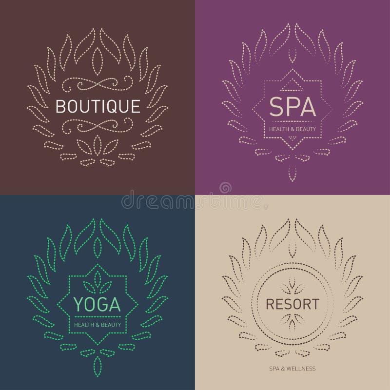 Комплект флористического шаблона логотипов для салона красоты, спа-центра, bouti бесплатная иллюстрация
