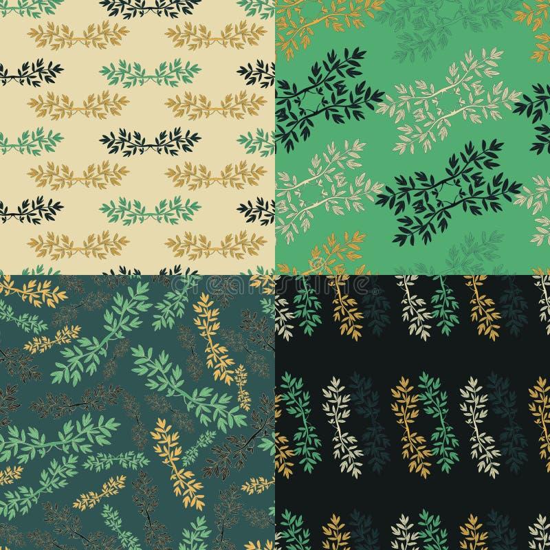 Комплект флористической зеленой безшовной картины бесплатная иллюстрация