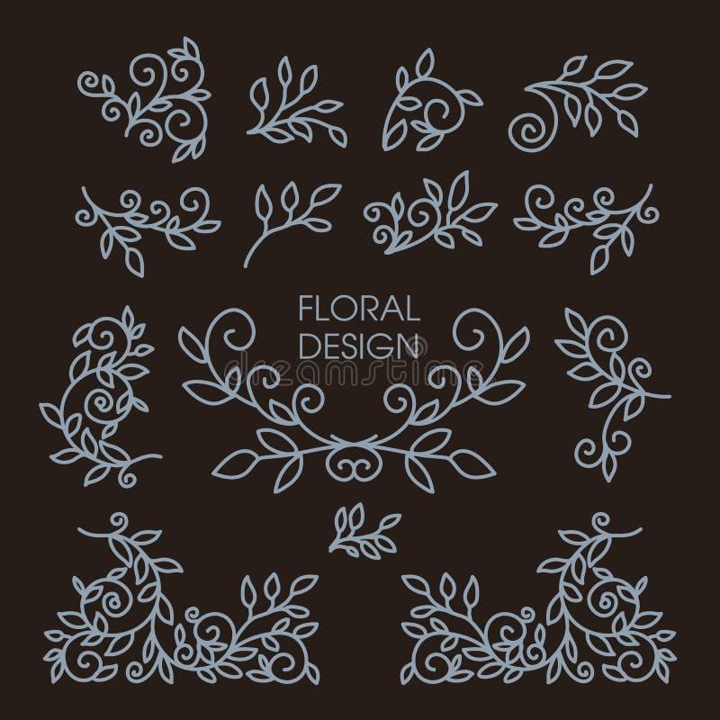 Комплект флористической линии элементов дизайна иллюстрация вектора