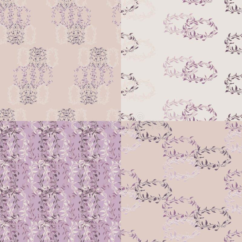 Комплект флористической фиолетовой безшовной картины иллюстрация штока