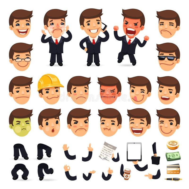 Комплект характера бизнесмена шаржа для вашего бесплатная иллюстрация