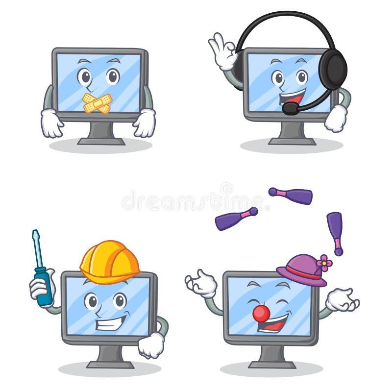 Комплект характера монитора с жонглировать молчаливых наушников автомобильный бесплатная иллюстрация
