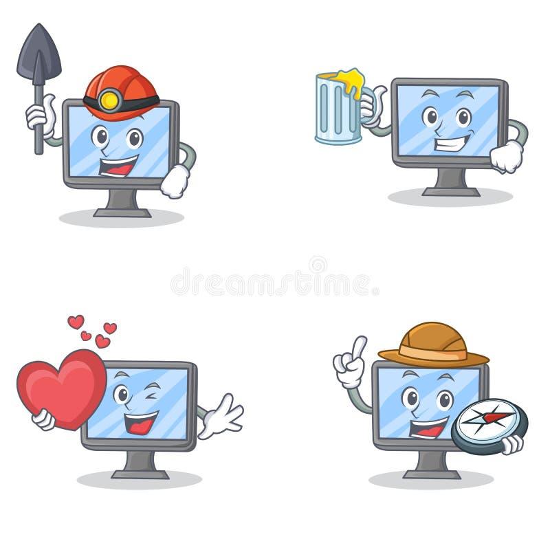 Комплект характера монитора с исследователем сердца сока горнорабочей иллюстрация вектора