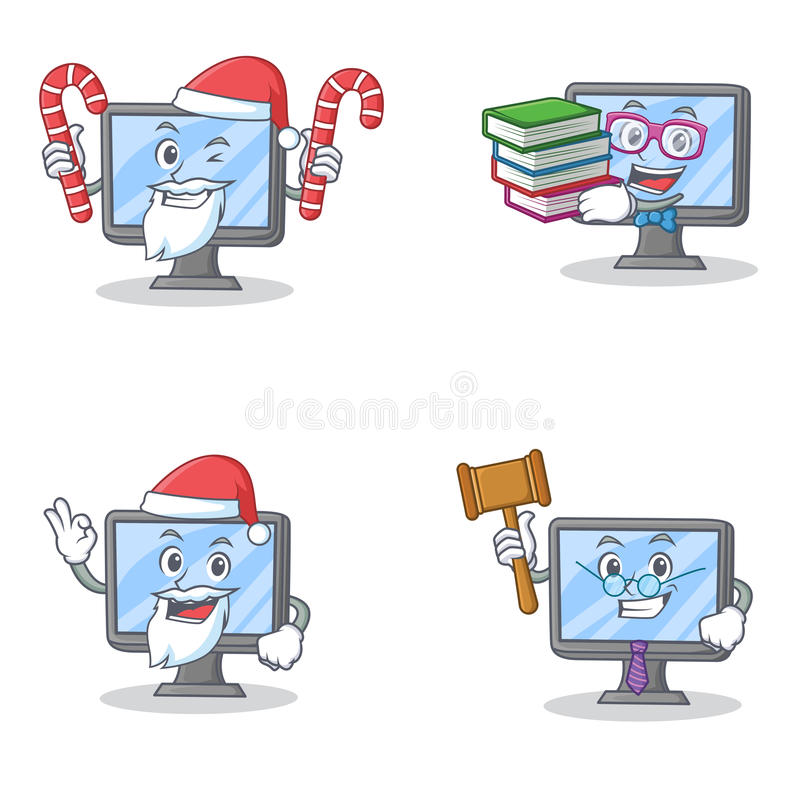 Комплект характера монитора с книгой и судьей конфеты Санты иллюстрация вектора