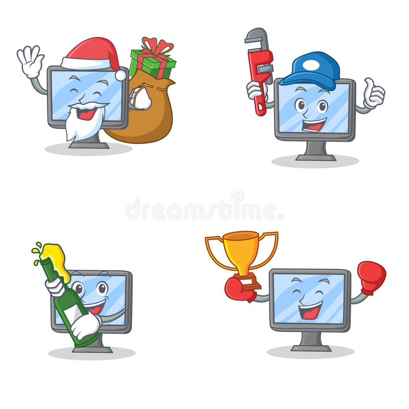 Комплект характера монитора с победителем пива водопроводчика подарка Санты иллюстрация штока