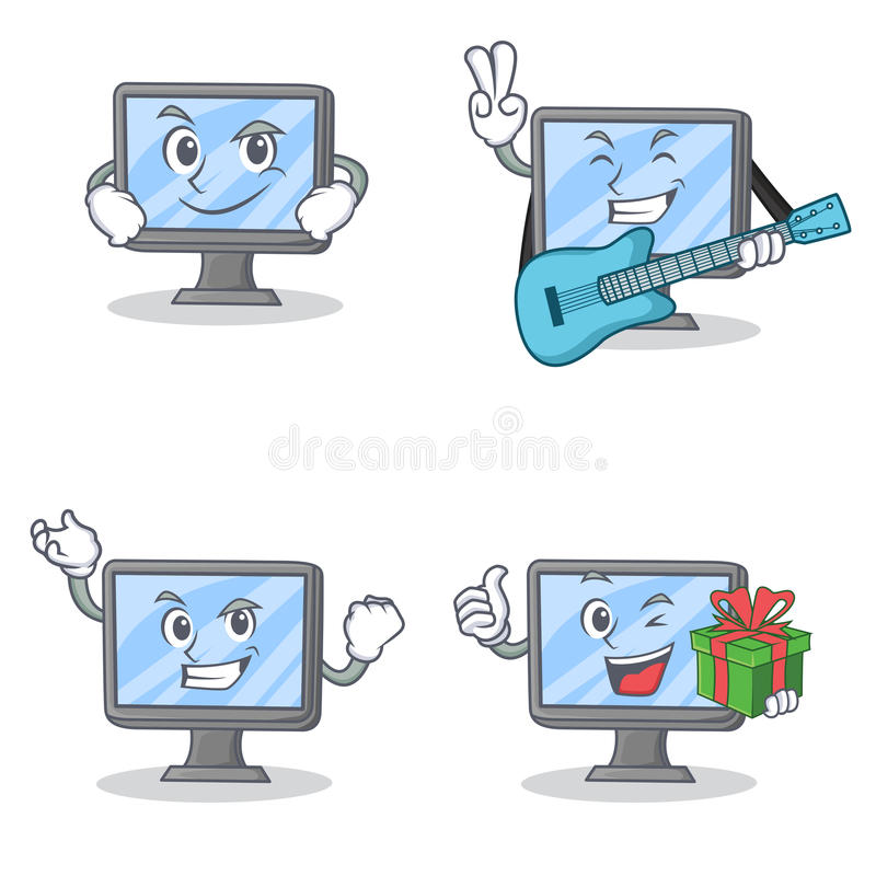 Комплект характера монитора с ухмыляясь подарком гитары успешным иллюстрация вектора