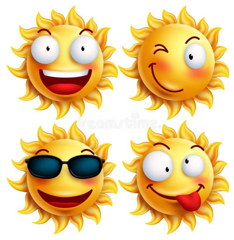 Комплект характера солнца с смешными выражениями лица в лоснистом 3D реалистическом на лето бесплатная иллюстрация