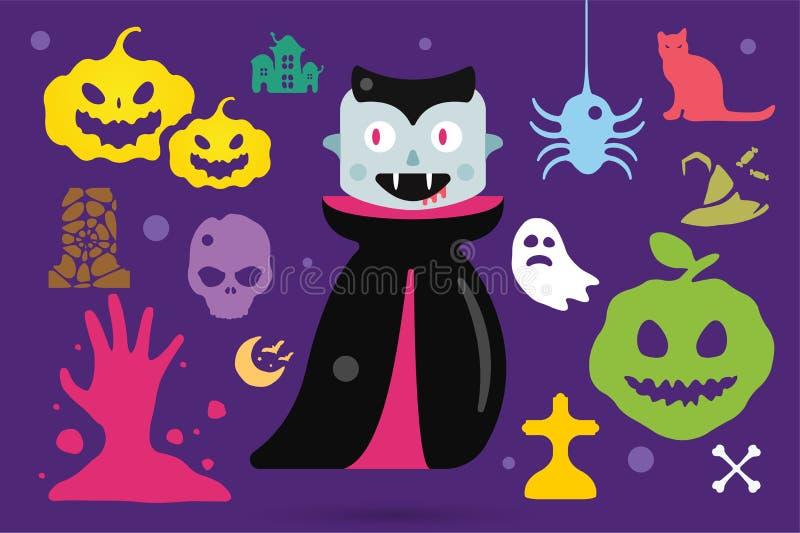 Комплект характеров костюма хеллоуина вектора иллюстрация штока