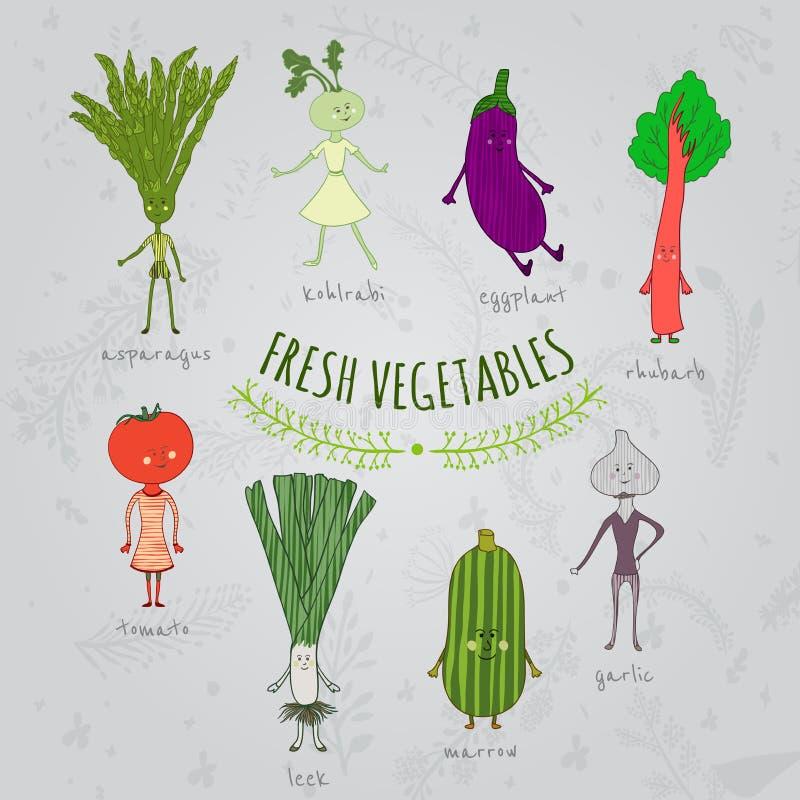 Комплект характеров овощей шаржа нарисованных рукой иллюстрация вектора