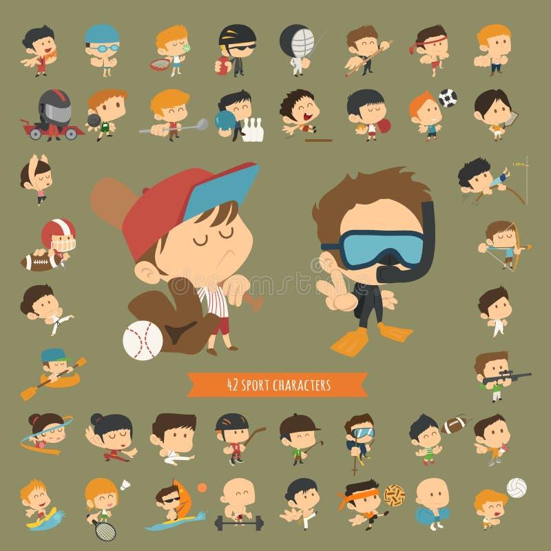 Комплект 42 характеров спорта иллюстрация штока