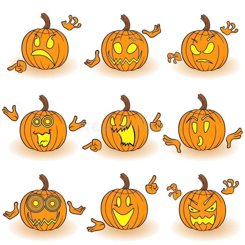Комплект хеллоуина 9 жестикулируя тыкв бесплатная иллюстрация