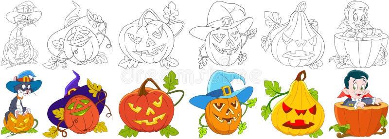 Комплект хеллоуина шаржа бесплатная иллюстрация