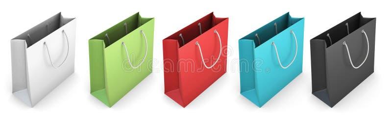 Комплект хозяйственных сумок цвета на белизне иллюстрация штока