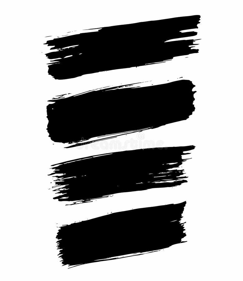 Комплект ходов щетки grunge чернил вектора Значок, логотип, элементы дизайна иллюстрация штока