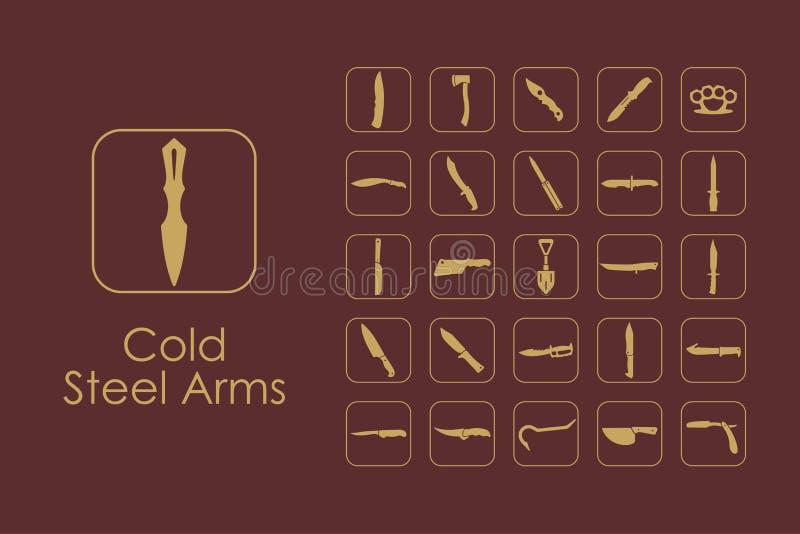 Комплект холодной стали подготовляет простые значки бесплатная иллюстрация