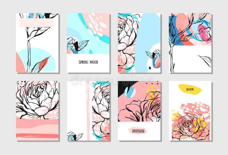 Комплект художнических творческих всеобщих карточек Текстуры нарисованные рукой Свадьба, годовщина, день рождения, день ` s вален иллюстрация штока