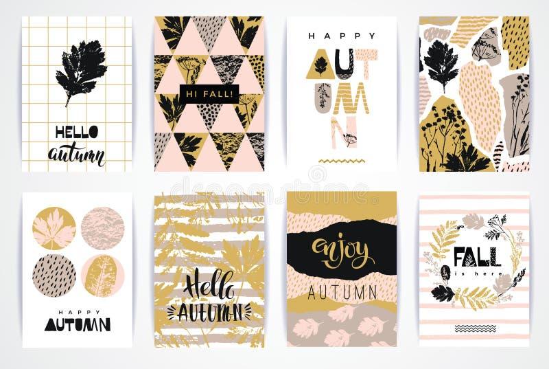 Комплект художнических творческих карточек осени иллюстрация вектора