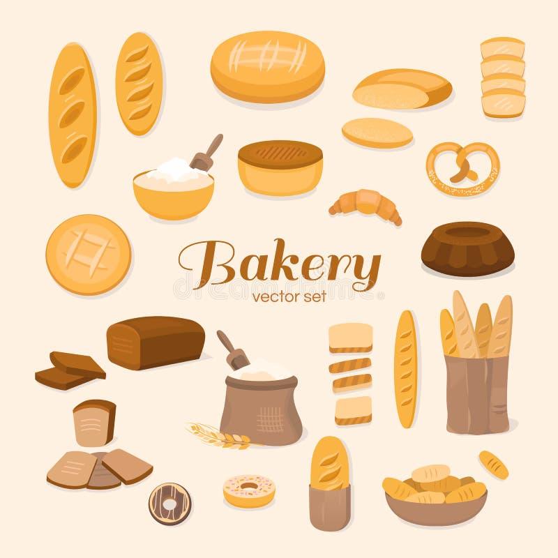 Комплект хлебопекарни иллюстрация штока