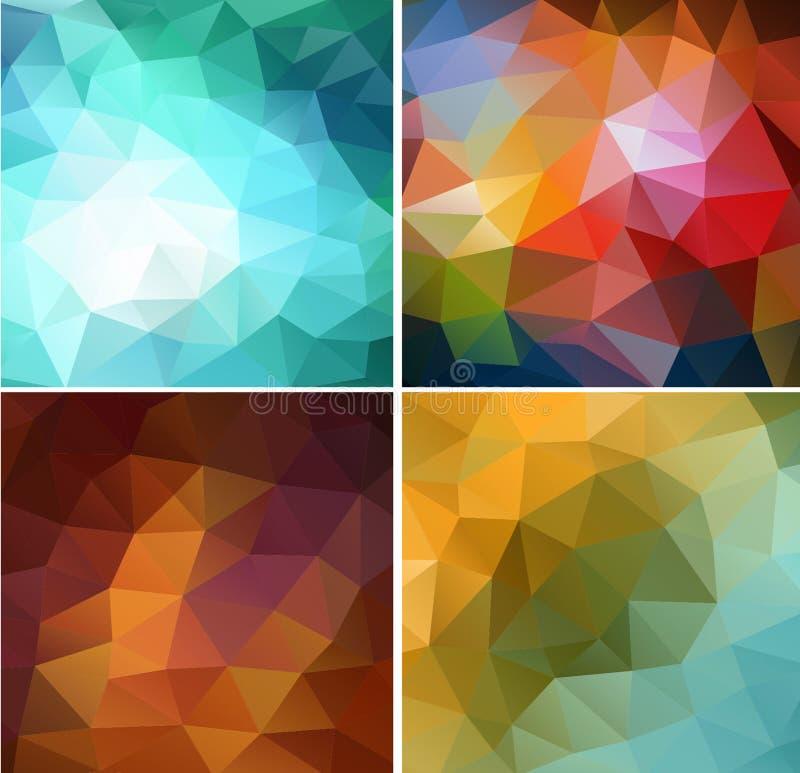Комплект цветастой абстрактной геометрической предпосылки 4 иллюстрация вектора