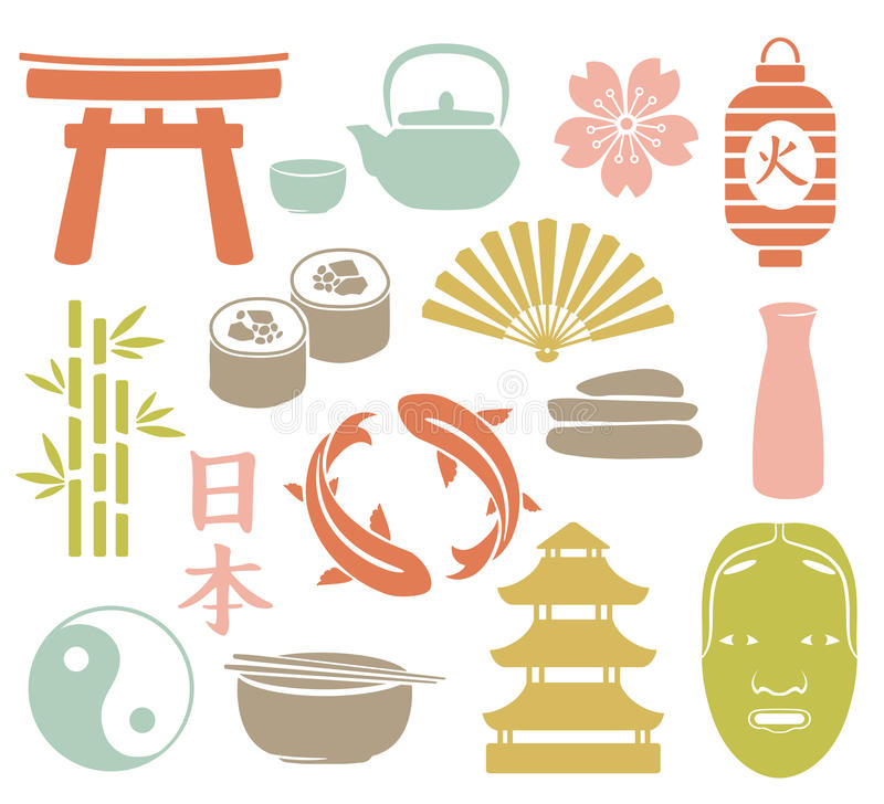 Комплект азиата иллюстрация штока