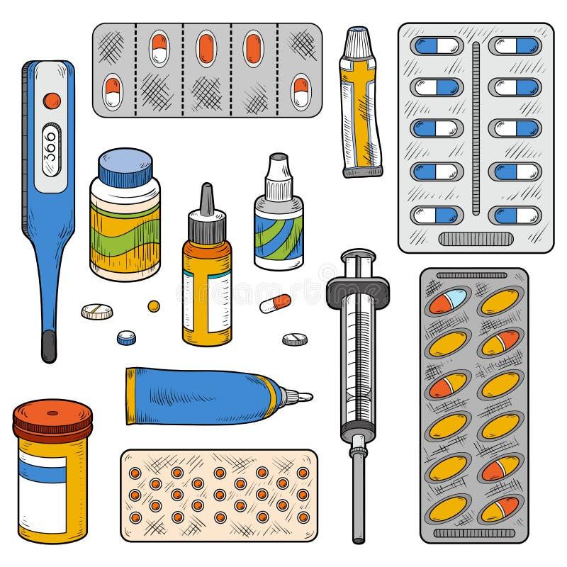 Комплект цвета вектора медицинских деталей бесплатная иллюстрация