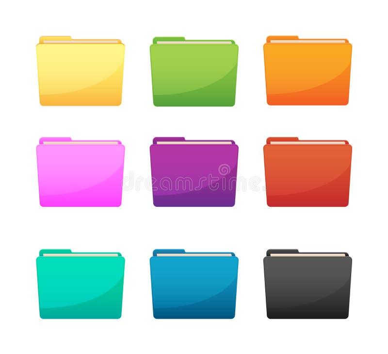 Комплект цвета значка папки стоковые фото