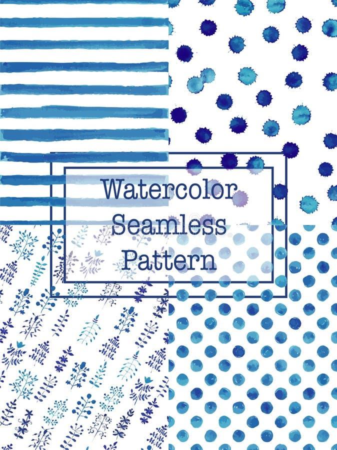 Комплект цвета сини картин акварели безшовного иллюстрация штока