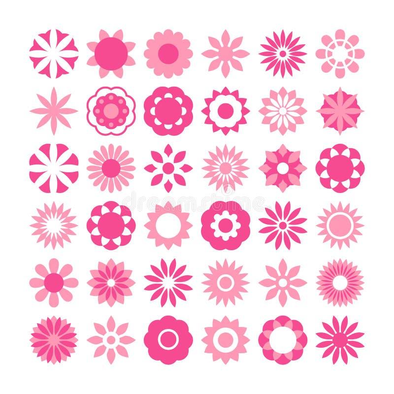 Комплект цветков вектора, значков цветков иллюстрация штока