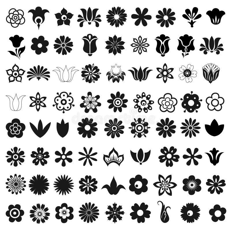 Комплект 72 цветков значков вектора бесплатная иллюстрация