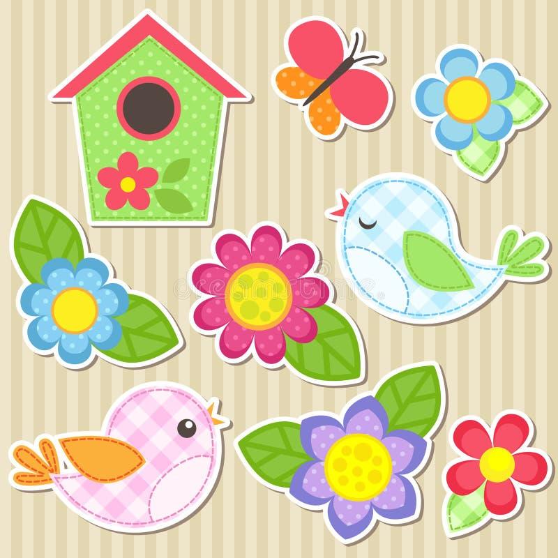 Комплект цветков и птиц иллюстрация вектора