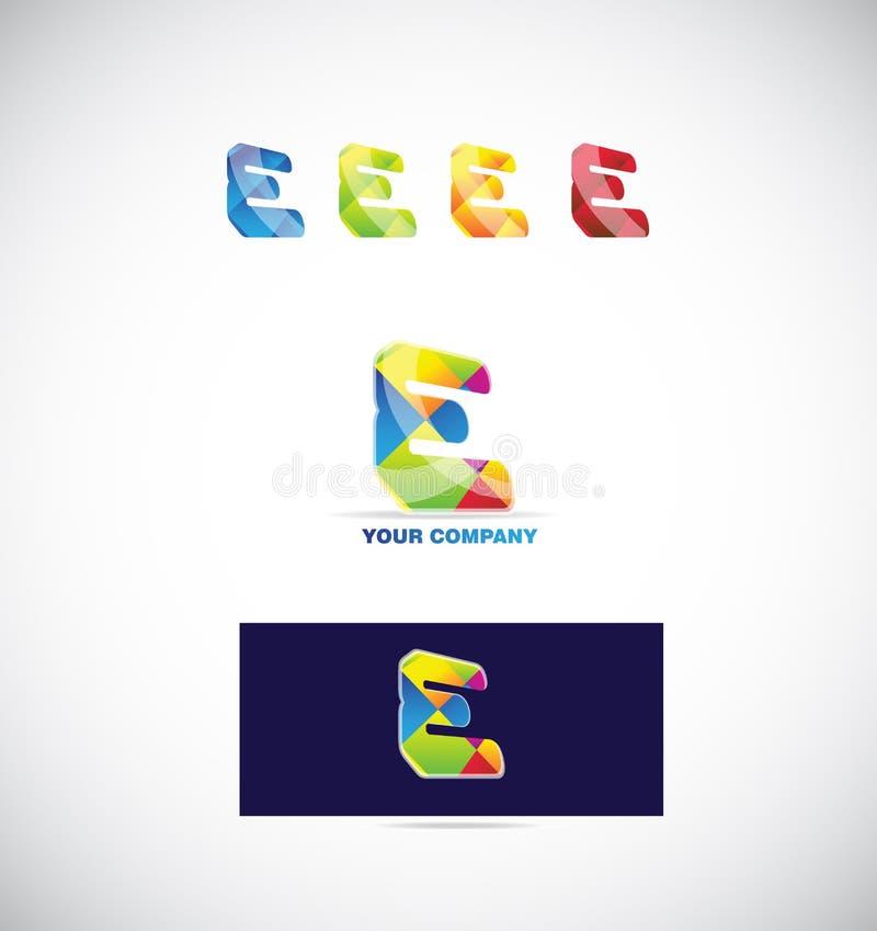 Комплект цветов значка логотипа письма e иллюстрация вектора