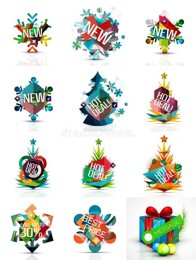 Комплект ценников продажи или продвижения рождества, новый иллюстрация штока