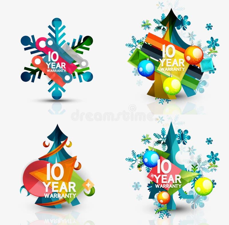 Комплект ценников продажи или продвижения рождества, новый иллюстрация вектора