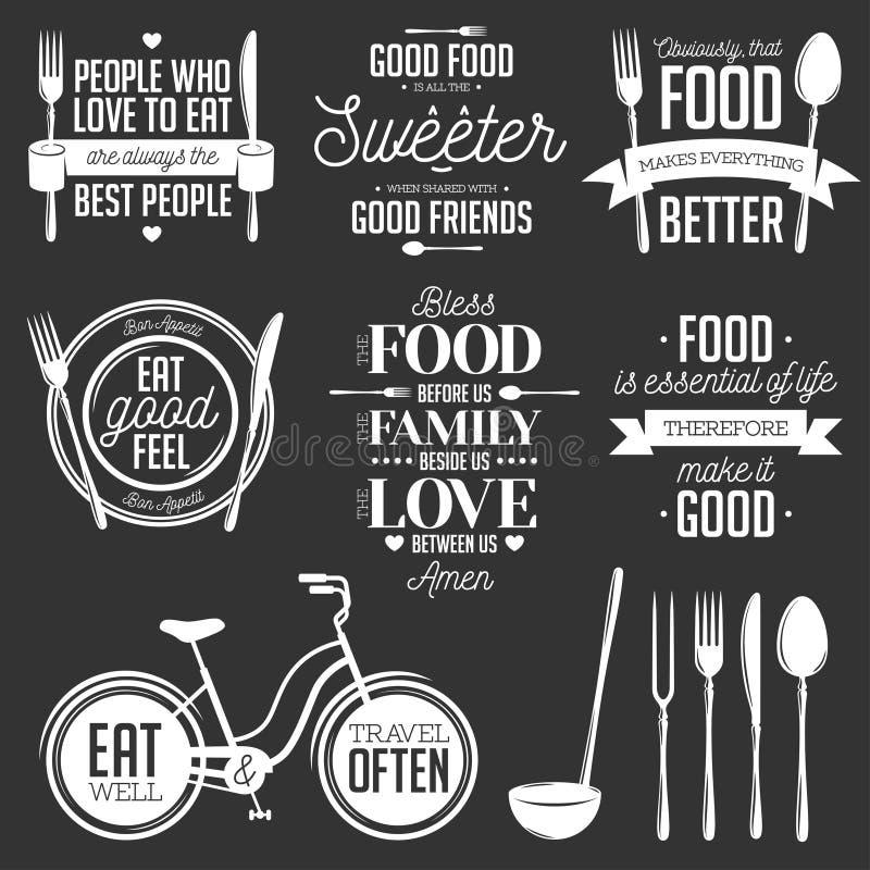 Комплект цитат винтажной еды родственных типографских иллюстрация штока