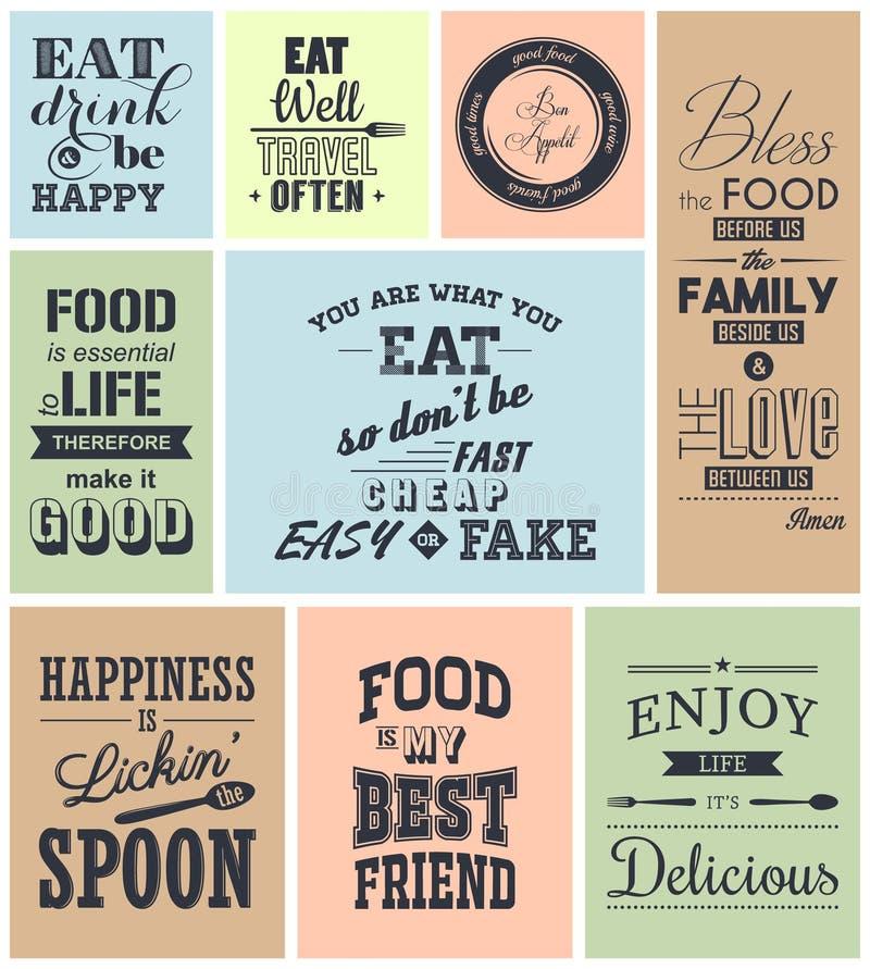 Комплект цитат винтажной еды типографских иллюстрация штока