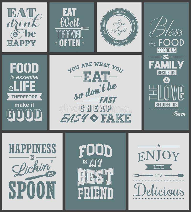 Комплект цитат винтажной еды типографских иллюстрация вектора