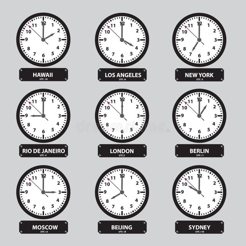 Комплект часов часовых поясов черно-белый иллюстрация штока