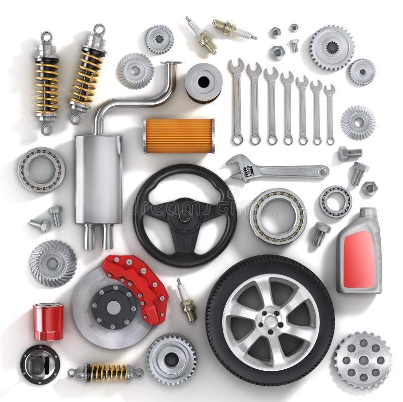 Комплект частей автомобиля иллюстрация штока