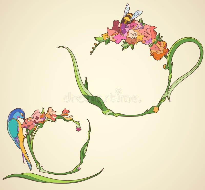 Комплект чая с цветками в стиле Nouveau искусства иллюстрация вектора