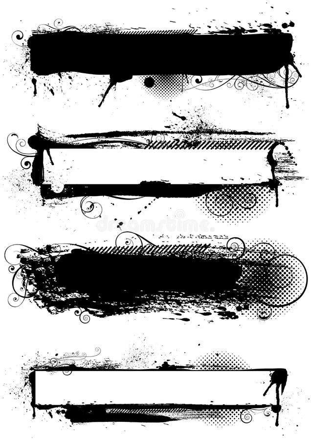 Комплект чернильных дизайнов grunge