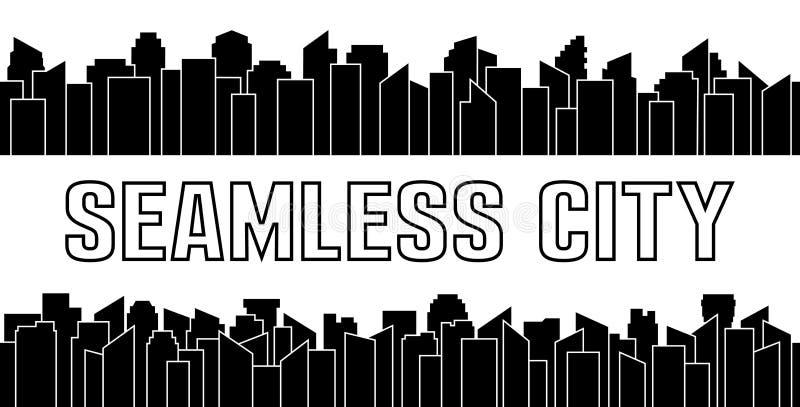 Комплект черного безшовного силуэта города Шабер городского и неба также вектор иллюстрации притяжки corel иллюстрация штока